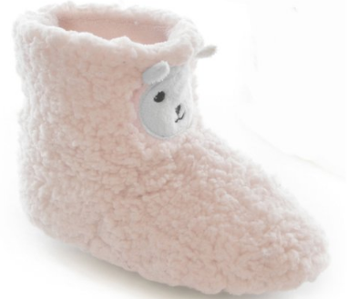 Children's toddler's little girls coral fleece lamb bootee slippers