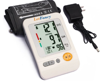 LotFancy FDA Approved Auto Digital Arm Blood Pressure Monitor with Power Adapter,4 Inch LCD