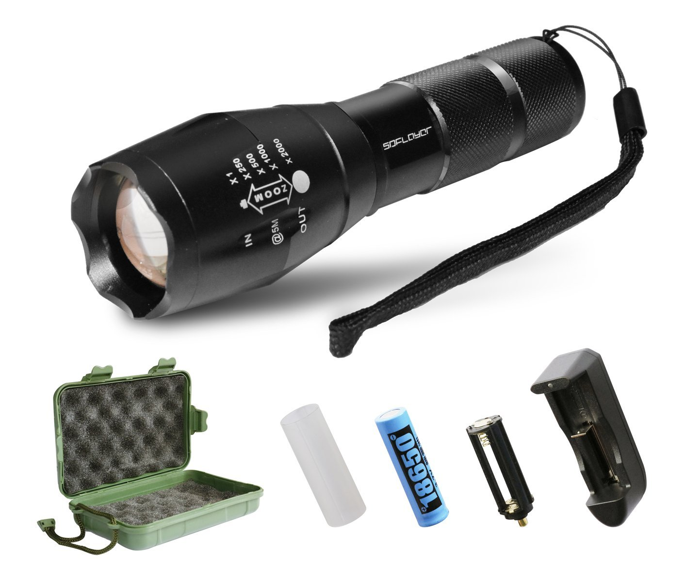 battery led tactical flashlight
