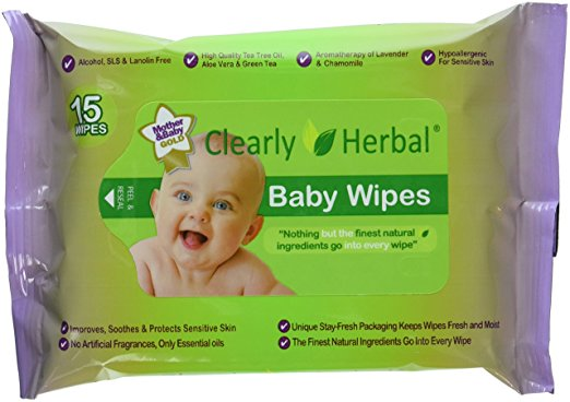Clearly Herbal 15 count Herbal Baby Wipes
