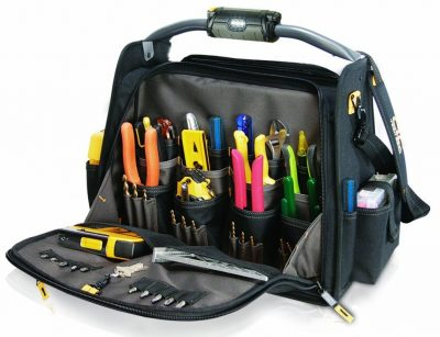 Custom Leathercraft L245 18-Inch CLC Tech Gear Dual Compartment Tool Carrier with LED Lighted Handle