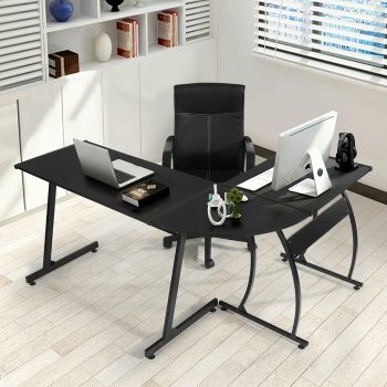 GreenForest L-Shape Corner Computer Desk PC Laptop Table