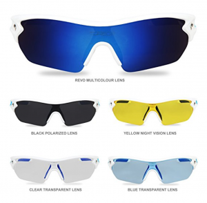 Torege Polarized Sports Sunglasses With 5 Interchangeable Lens for Men Women