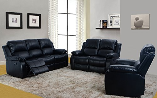Cynthia Black Faux Leather Reclining Sofa