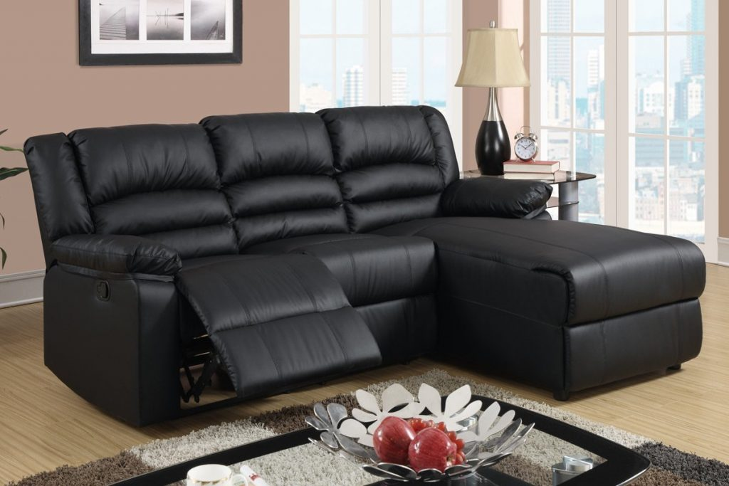 Black Bonded Reclining Sofa