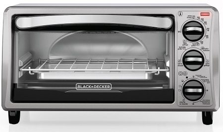 BLACK+DECKER TO1313SBD 4-Slice Toaster Oven, Includes Bake Pan, Broil Rack & Toasting Rack, Stainless Steel/Black Toaster Oven 30%OFF