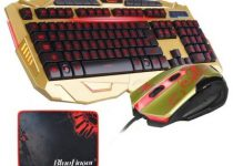 BlueFinger Gaming Wired Keyboard and Mouse with Customed Gaming Mouse Pad