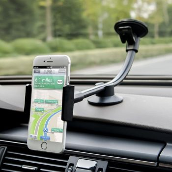Car Mount, Long Arm Universal Windshield Dashboard Car Phone Mount Holder Cradle