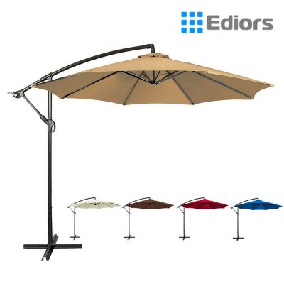 Ediors® Deluxe Ivory 10 Ft Offset Cantilever Hanging Patio Umbrella
