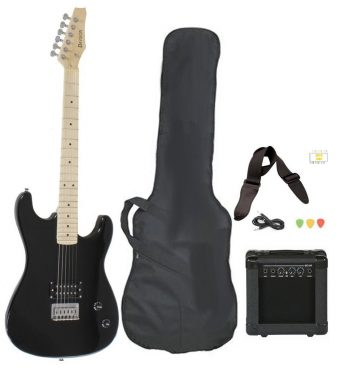 Full Size Black Electric Guitar with Amp, Case and Accessories