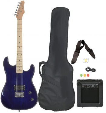 Full Size Blue Electric Guitar with Amp, Case and Accessories
