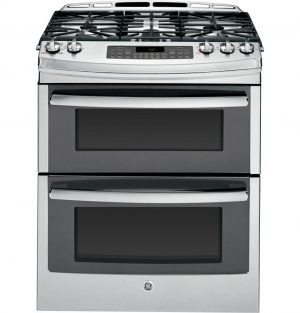 "GE PGS950SEFSS Profile 30"" Stainless Steel Gas Slide-In Sealed Burner Double Oven Range"