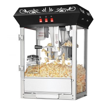 Great Northern Popcorn Black 8 oz. Ounce Foundation Movie Theater Style Popcorn Machine Top