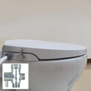 Hibbent Elongated OB106 Non Electric Toilet Bidet Seat with Dual Nozzle Sprayer