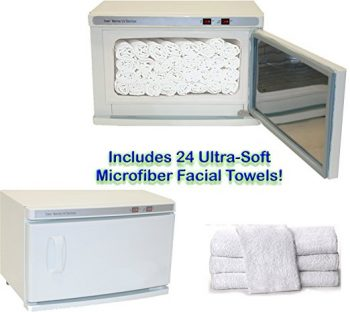 High Capacity Hot Towel & UV Sterilizer Cabinet 24 Ultra-Soft Microfiber Facial Towels