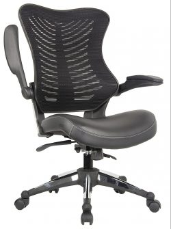 office factor executive ergonomic office chair back mesh bonded leather seat
