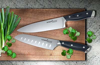 "5. Ultimate Kitchen 8"" Professional Knife & 7"" Santoku Knife Set"