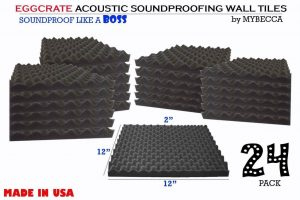 Mybecca 24 PACK Premium Eggcrate Soundproofing Wall Tiles
