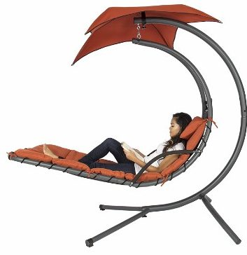 #1 Hanging Chaise Lounger Chair Arc Stand Air Porch Swing