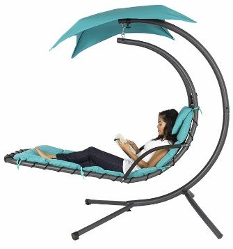 #2 Hanging Chaise Lounger Chair Arc Stand Air Porch Swing, Blue
