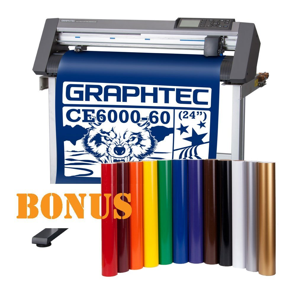 "Graphtec 24"" CE6000 Desktop Vinyl Cutter Plotter with Bonus 12 vinyl rolls in popular color"