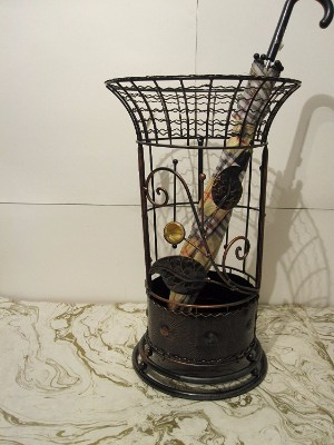 #6 Round Metal Wrought Iron Umbrella Holder Stand