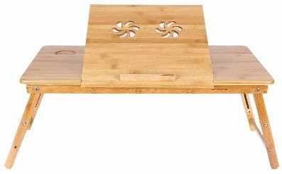 7 - Songmics Right-Left Handed Laptop Desk Bamboo Foldable Bed Tray