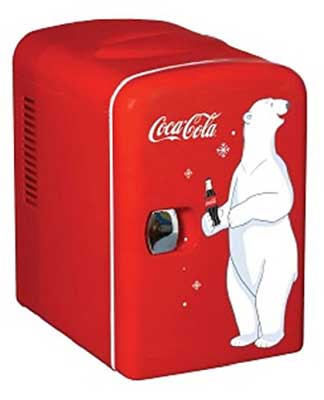 2. Coca Cola Personal Mini 12-V Car and 120-V Home Fridge