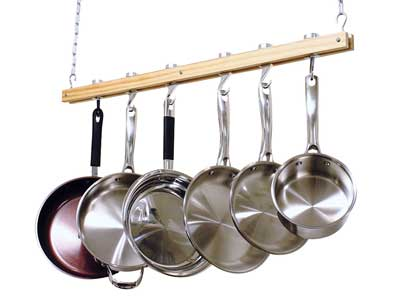 2. Cook's Standard Single Bar Ceiling Mount Wooden Pot Rack