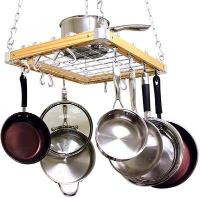 4. Cooks Standard Ceiling Mount Wooden Pot Rack
