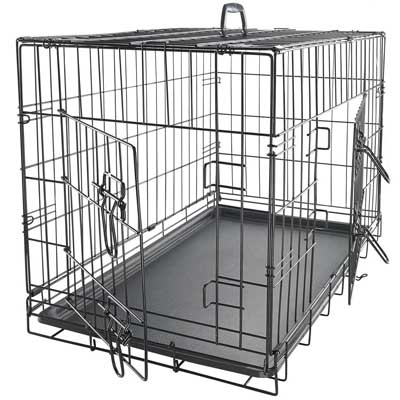 9. 24-Inch Folding Metal Pet Crate with Double Door and Divider by OxGord