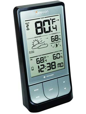5. BAR218HG WeatheratHome Wireless Weather Station with Thermometer by Oregon Scientific