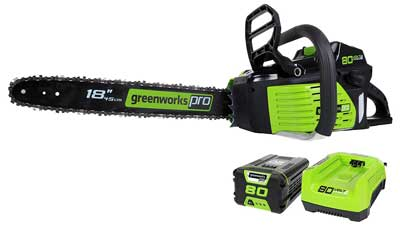 4. Pro GCS80420 80V 18-Inch Cordless Chainsaw, Battery & Charger included by GreenWorks
