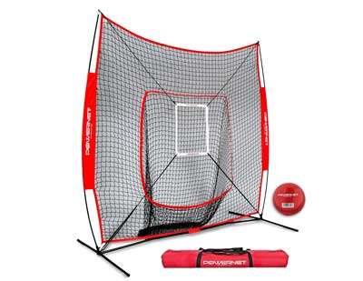 3. PowerNet DLX 7x7 Softball and Baseball Practice Net - Bundle with Strike Zone and Training Ball