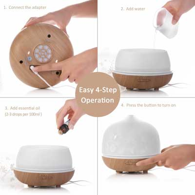 9. ISELECTOR 500ml Glass Aromatherapy Essential Oil Diffuser with 7 Changing LED Colors