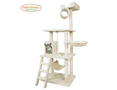 10. Cat Tree Tower Condo with Hammock, Deluxe Scratching Posts, and Rope by PET PALACE
