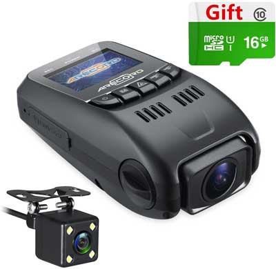3. ARECORD B40D Dual Camera Dash Cam, Front and Rear Dual Channel Car Camera Recorder with Capacitor Night Vision 1080P