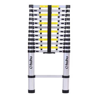 2. 12.5ft EN131 Telescopic Extension Aluminum Ladder, Extendable Telescoping Ladder with Spring Loaded Locking Mechanism by Ohuhu