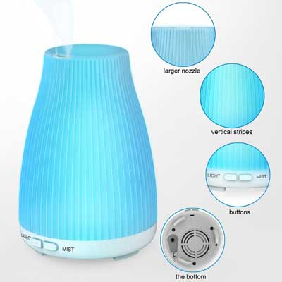 6 Essential Oil Ultrasonic Aroma Diffuser - BAXIA TECHNOLOGY Cool Mist Humidifier with 8 Color LED Mood Lights for Office and Bedroom