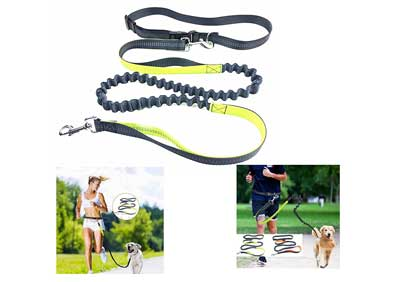 10. Lightweight Hands Free Dog Leash - Durable Bungee Leash for Running Jogging Walking - Reflective Stitching Adjustable Length and Waist Belt by MCBOSON