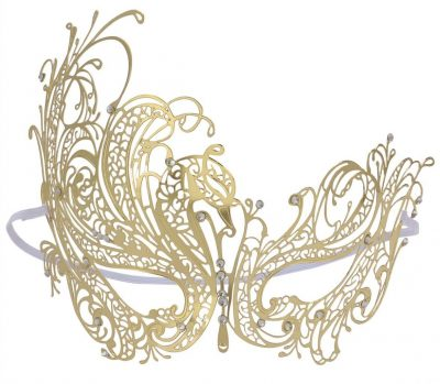Coxeer Venetian Masquerade Mask Women's Swan Metal Filigree Laser Cut Mask