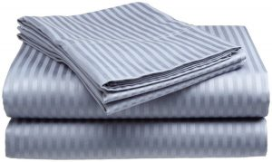 Queen Size 400 Thread Count Sateen Dobby Stripe Cotton Sheet