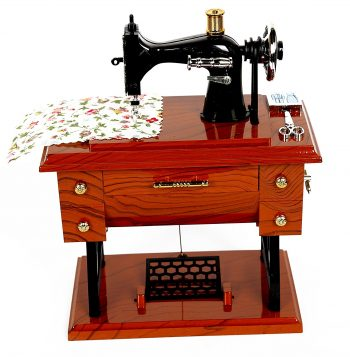 Vintage Mini Sewing Machine Style Plastic Music Box Table Des