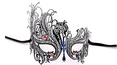 Luxury Mask Women's Swan Metal Filigree Laser Cut Venetian Masquerade Mask