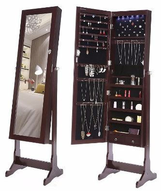 #4 SONGMICS LED Jewelry Cabinet Lockable Standing