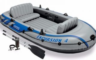 #5 Intex Excursion 4, 4-Person Inflatable Boat Set