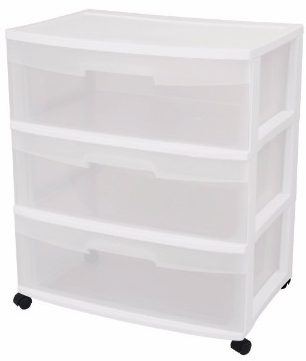 #5 Sterilite 29308001 Wide 3 Drawer Cart