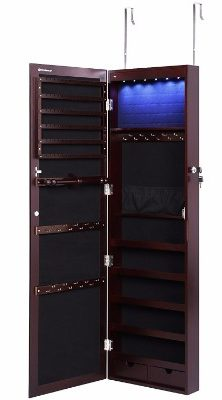 #7 SONGMICS LED Jewelry Cabinet Lockable Wall Door Mounted Jewelry Armoire