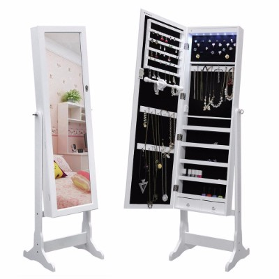 #8 SONGMICS LED Jewelry Cabinet Lockable Standing Jewelry Armoire