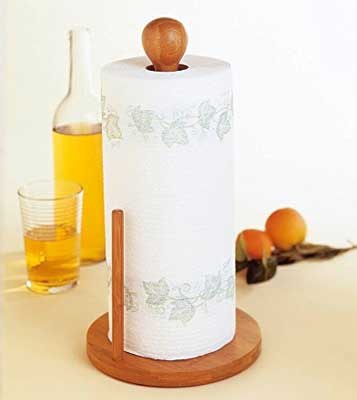 5. Bamboo Collection Standing Paper Towel Holder by Lipper International
